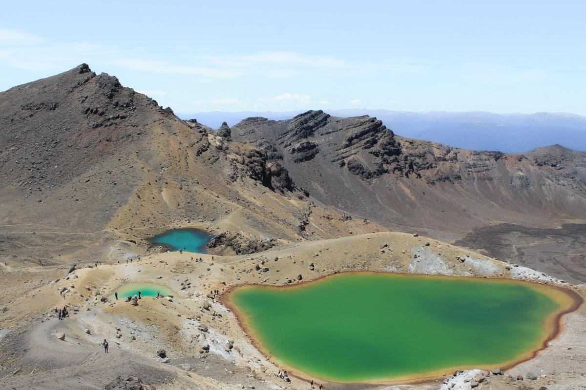 Three colorful lakes ona vocano in New Zealand