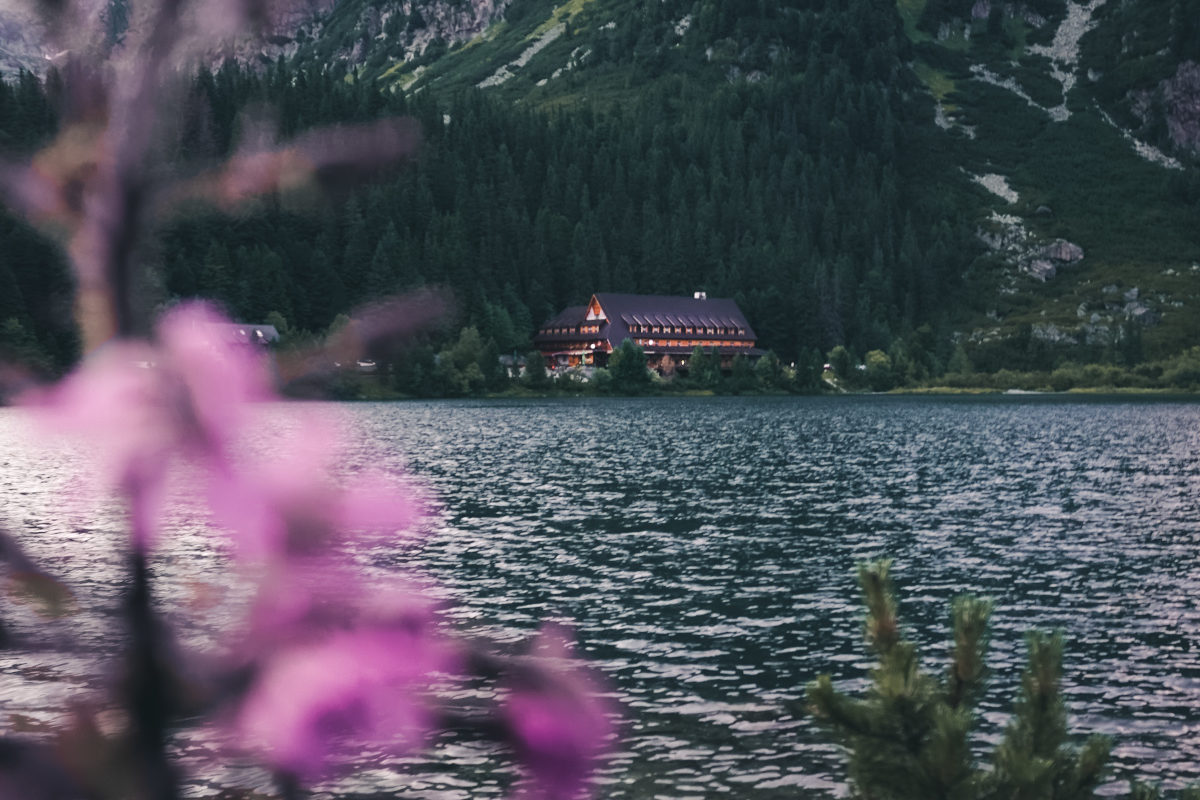 Remote mountain hut on a lake in Slovakia