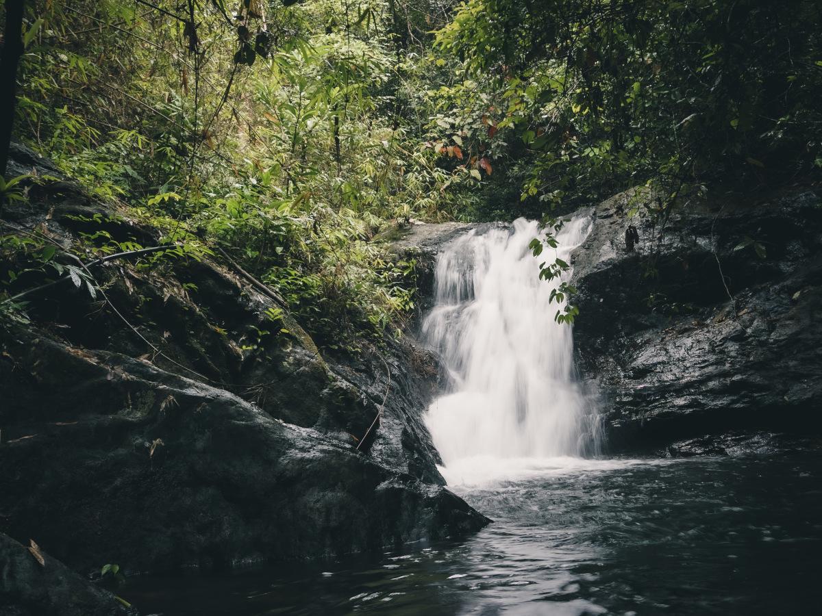 jao leuam waterfall on the island koh chang