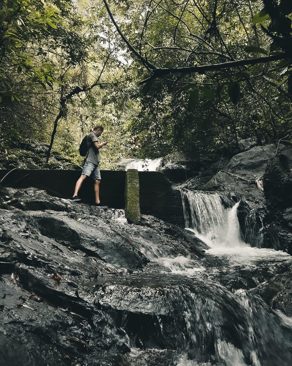 hiking to jao leuam waterfall in koh chang