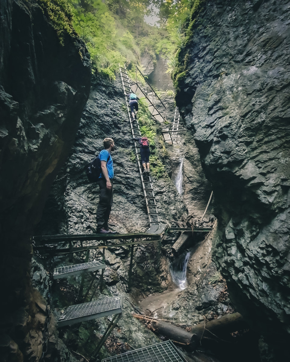 Hiking in the waterfalls in slovak paradise