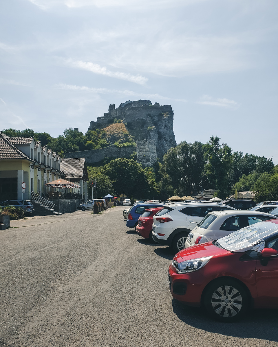 View of the Devin Castle from parking lot
