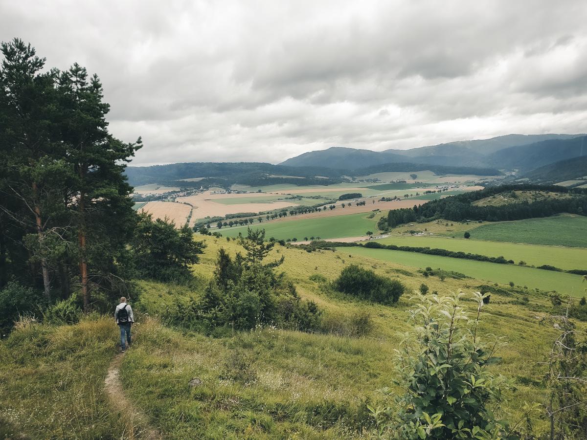 Hiker near Spis Castle
