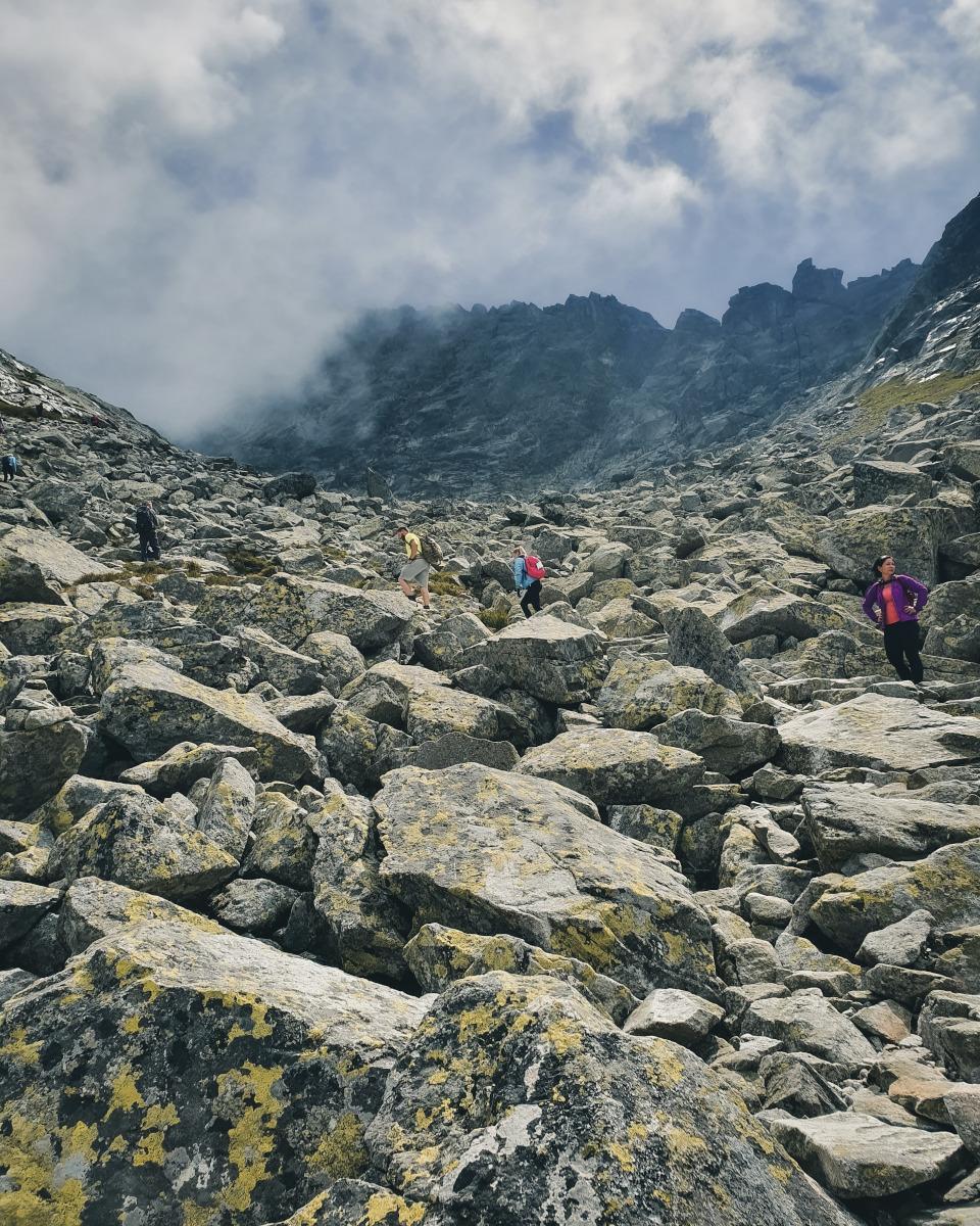 Stony hiking trail to the Rysy