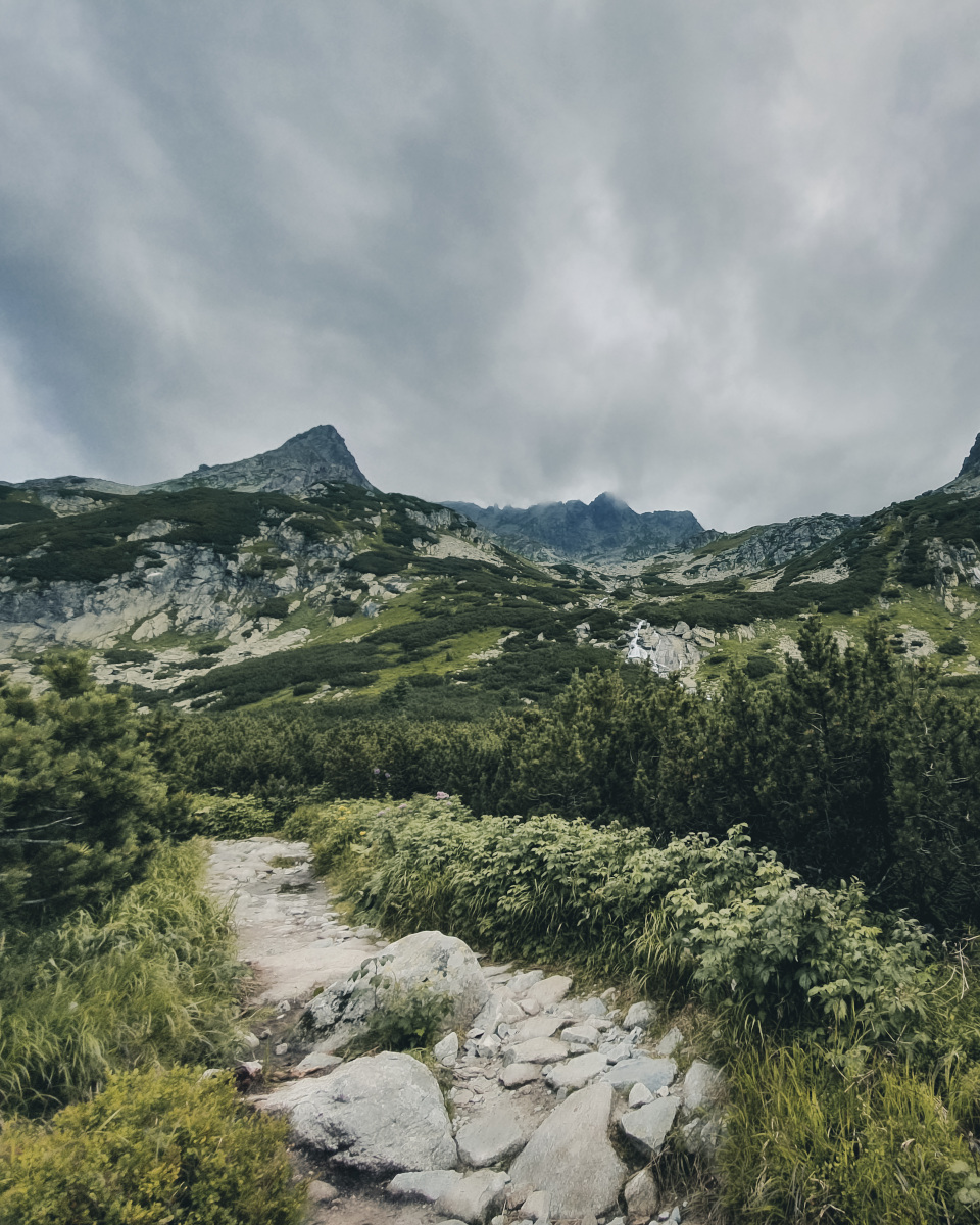 Stony hiking trail on the Rysy