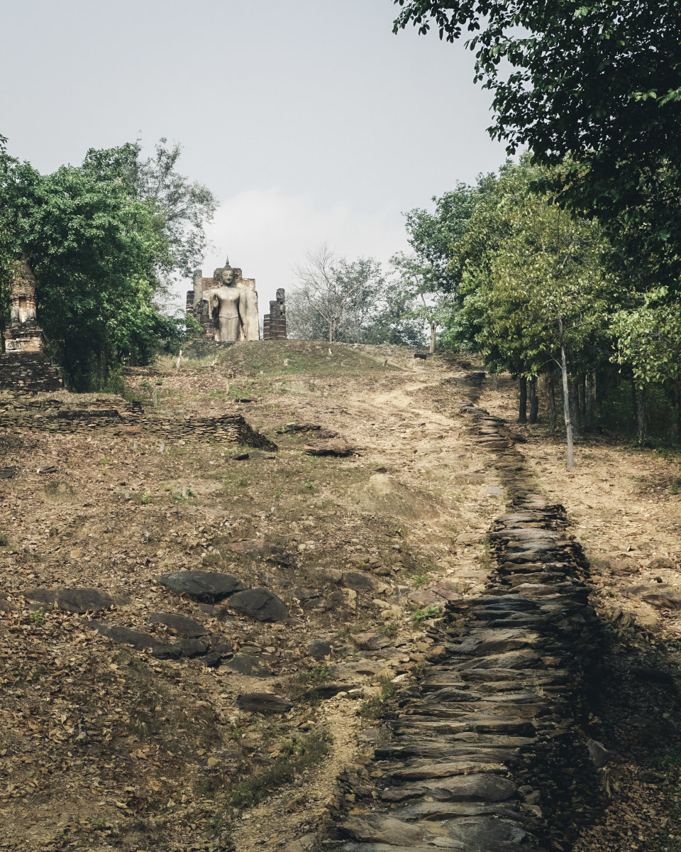 Stairs uphill to Wat Saphan Hin temple in Sukhothai