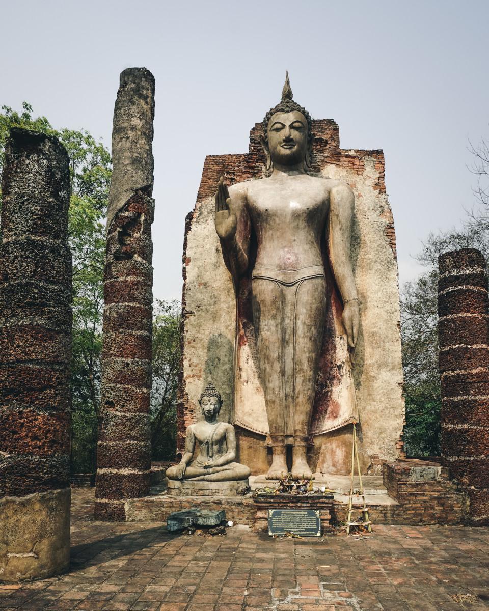Giant Buddha on a mountain in Sukhothai