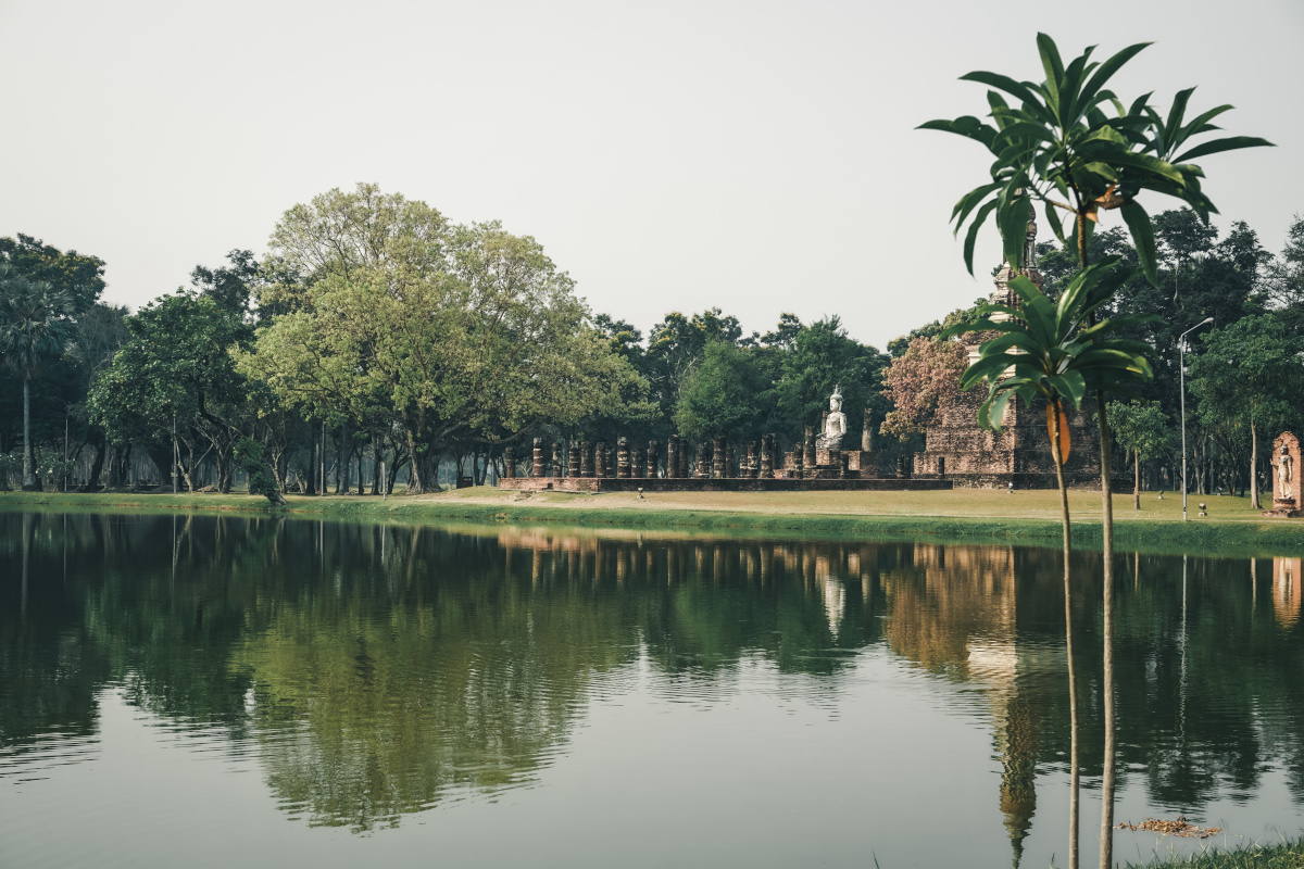 Picturesque lake in front of a temple