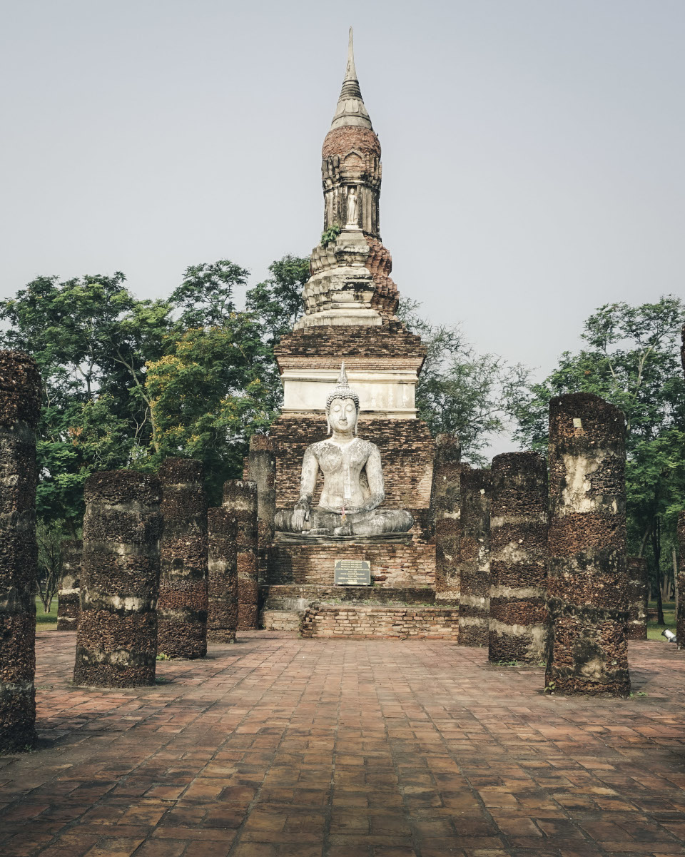 Temple with Buddha statue in Sukhothai