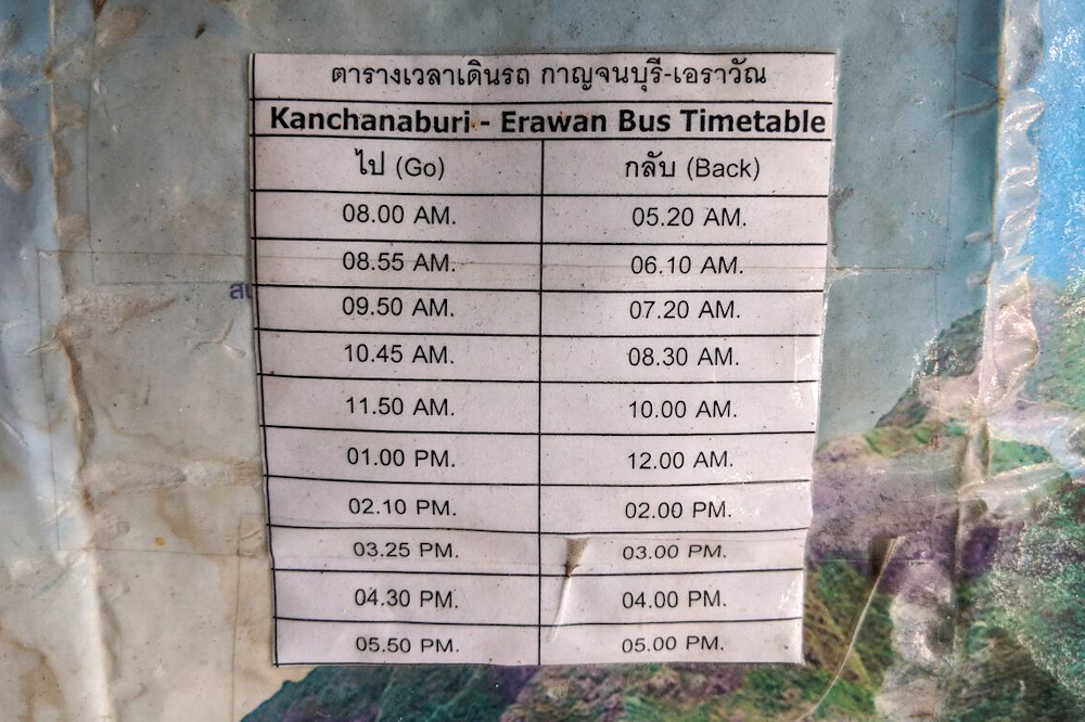 Bus timetable kanchanaburi and Erawan