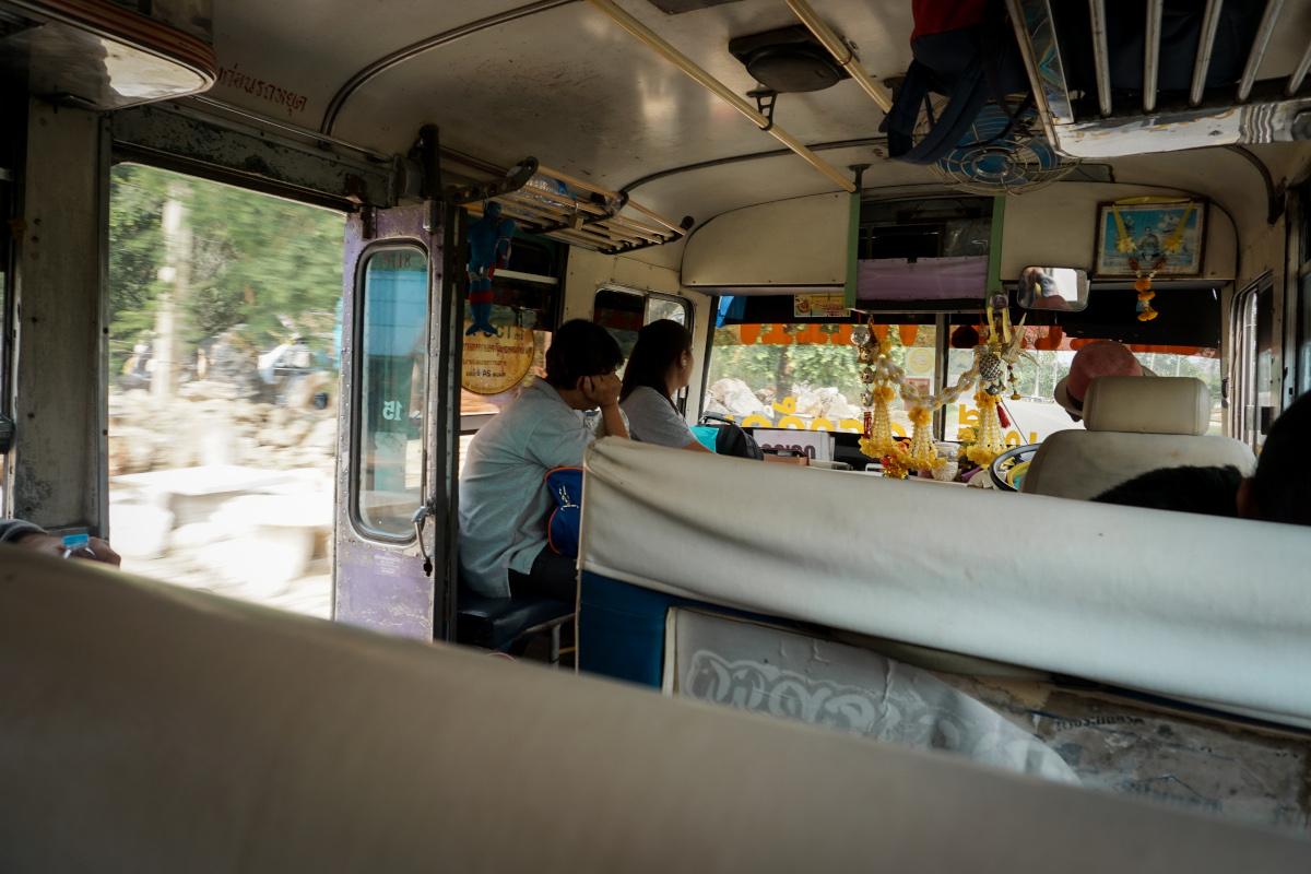 Public bus to the Erawan waterfall