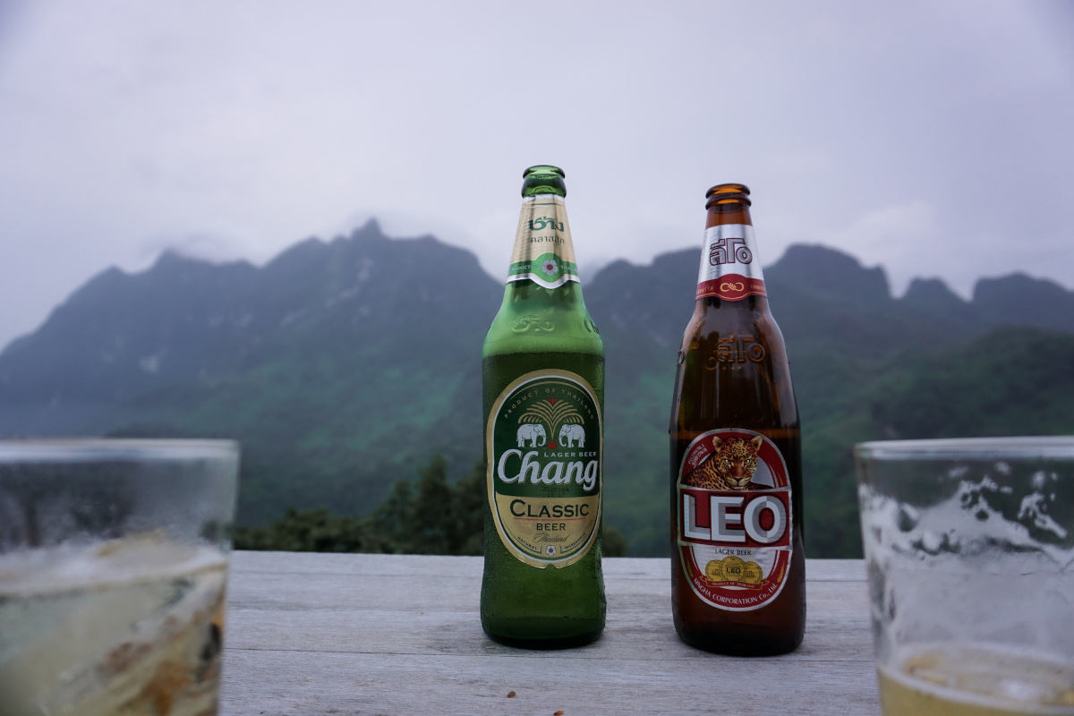 Leo and Chang beer on a terrace in the mountains