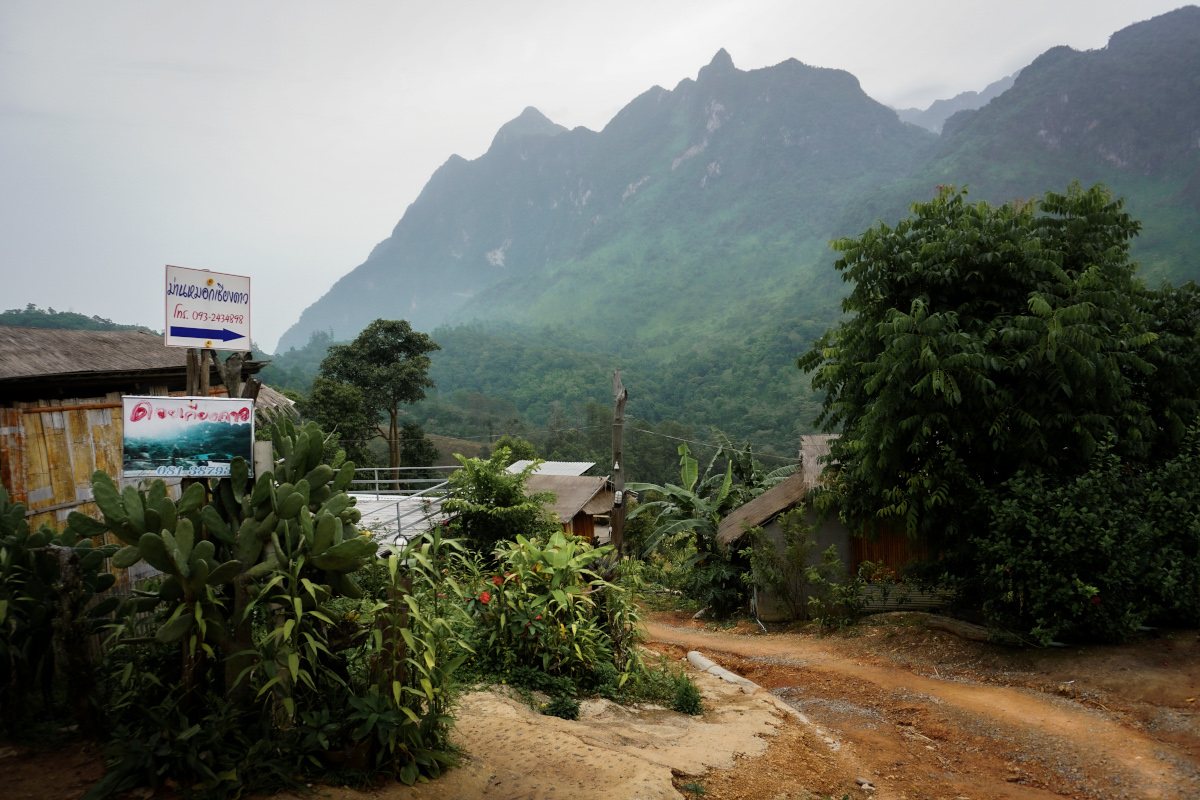 Dirt road in a Thai village in the mountains