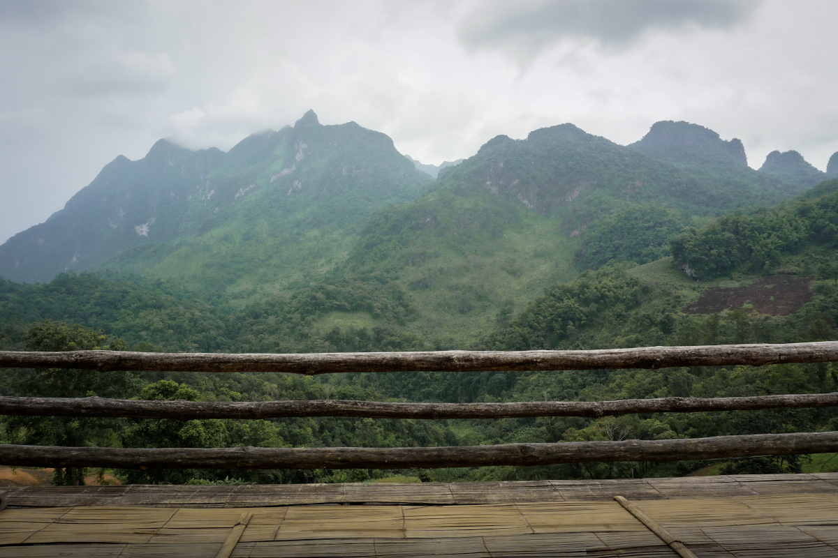 Balcony with mountain view in Thai village