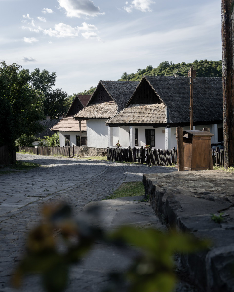 Street with white houses in a village