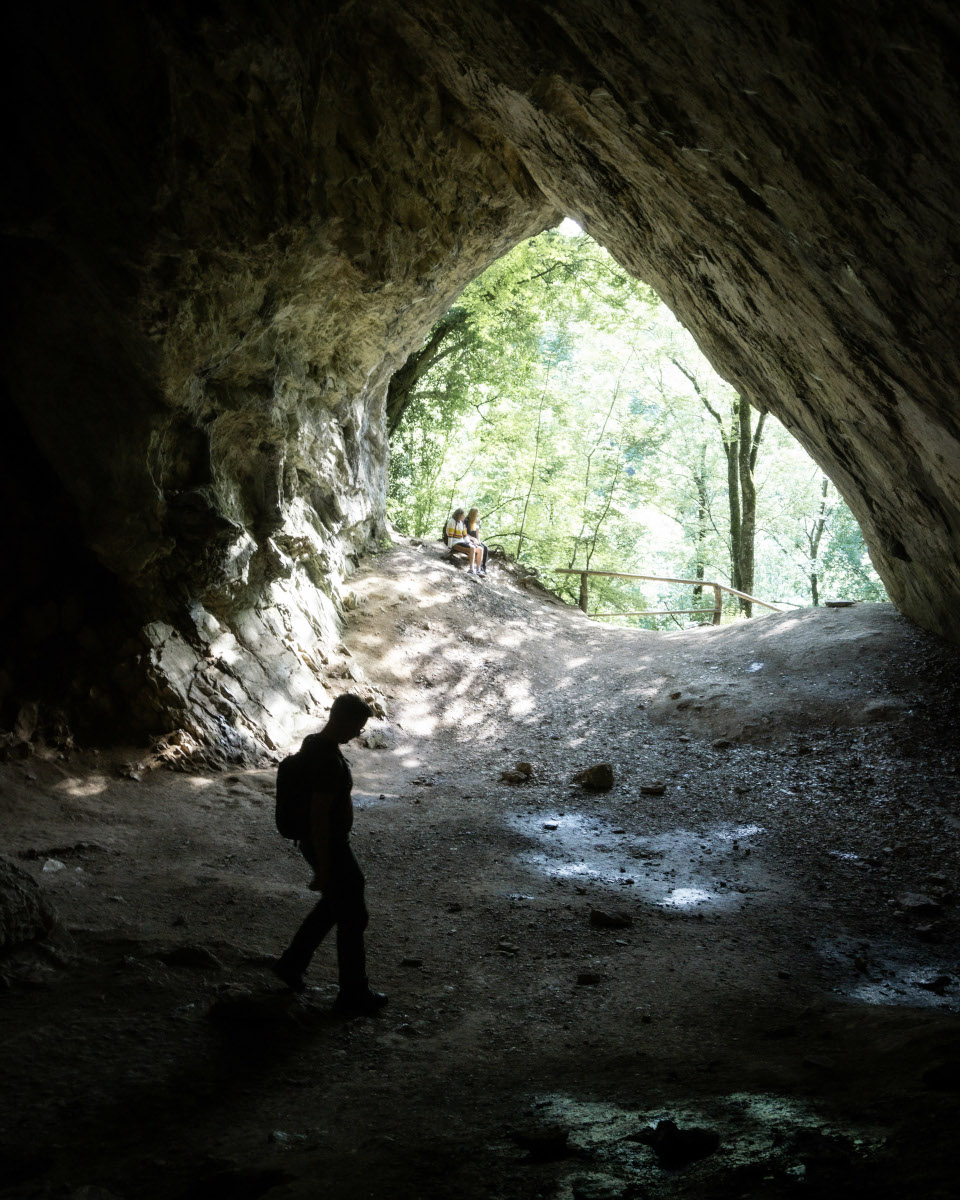 Tourist in a cave in Hungary