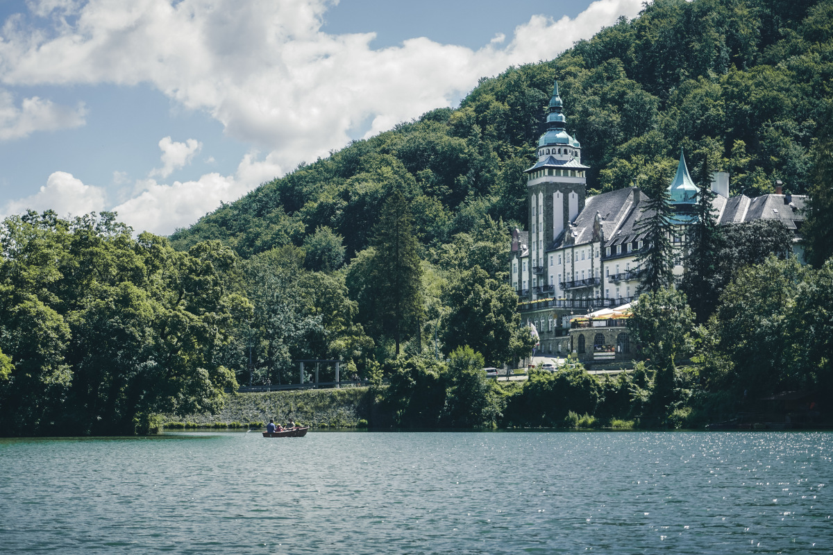 View of the pompous hotel on the lake in Lillafüred