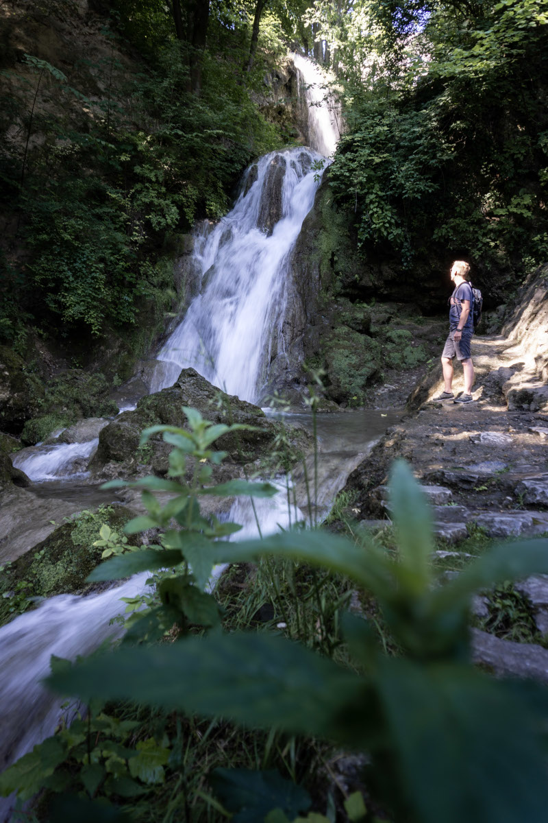 Hiker in front of a waterfall with leaves in the foreground