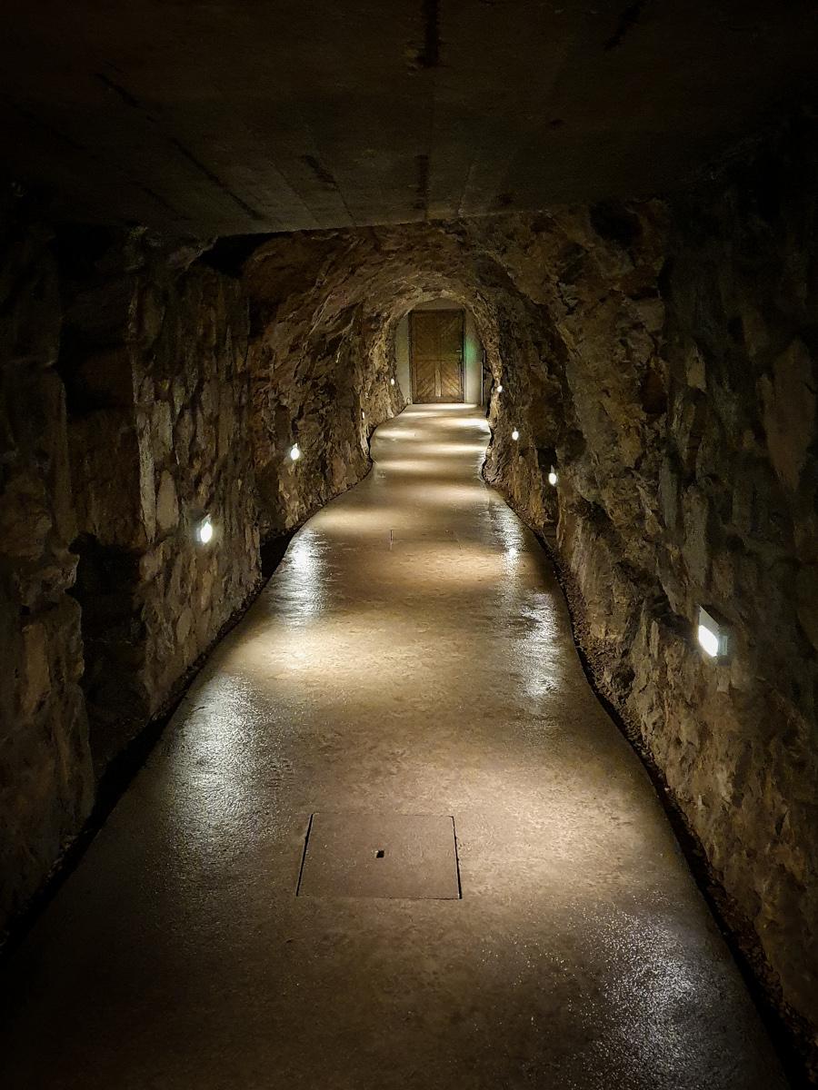 Illuminated corridor of the St. Stephan stalactite cave